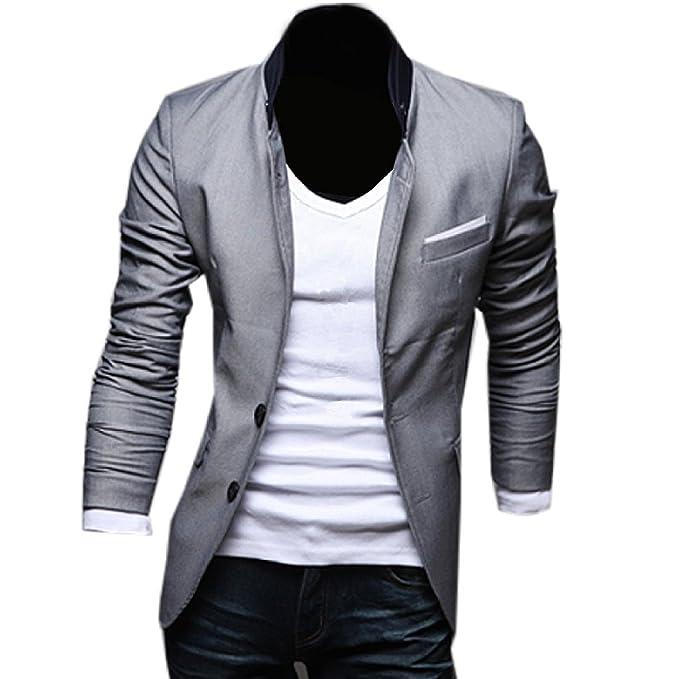 Minetom Hombres Otoño Primavera Moda Chaqueta De Sport Slim Fit Casual Ocio Negocio Chaqueta Traje