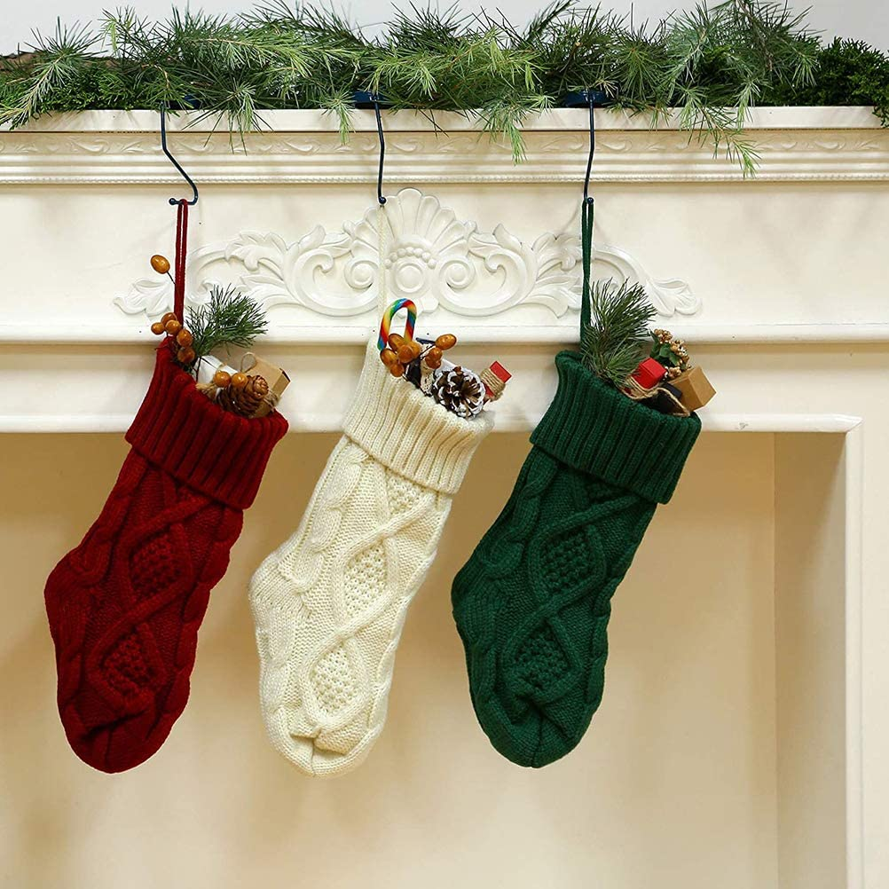 3 piezas de punto de Navidad medias de punto de lana de caramelo bolsa de regalo adornos BSTQC calcetines de Navidad