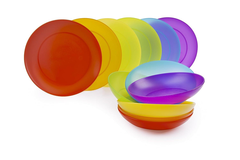 Set Excelsa Rainbow Servizio Piatti 12 Pezzi Plastica