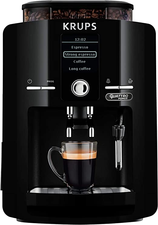 Krups EA82F0 - Cafetera Superautomática 1450 W, 15 bares, 1,7 L, Pantalla LCD, Molinillo cónico de metal integrado, Programa de limpieza automático. Sistema de filtro de agua. Tecnología Quattro Force: Amazon.es: Hogar