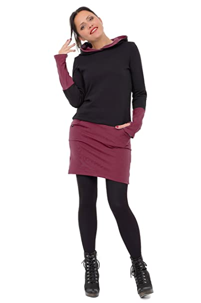 0040d86c8aa39c 3Elfen vestito cappuccio Gotico abito donna casual maglioni inverno nero  bordò XXS