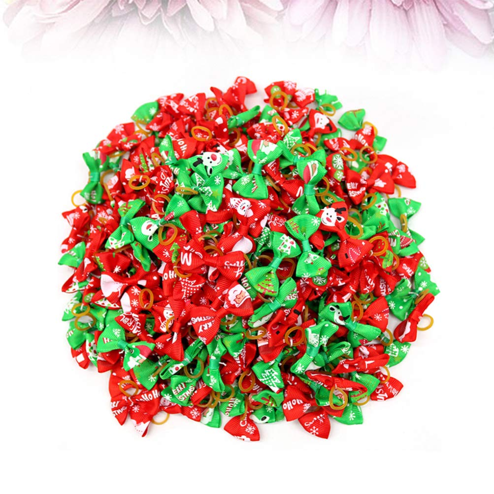 Balacoo 50pcs Christmas Dog Hair Bows with Rubber Bands Santa Claus Reindeer Snowflake Snowman Pattern Christmas Pet Hair Accessories for Puppy Kitten Dog Cat