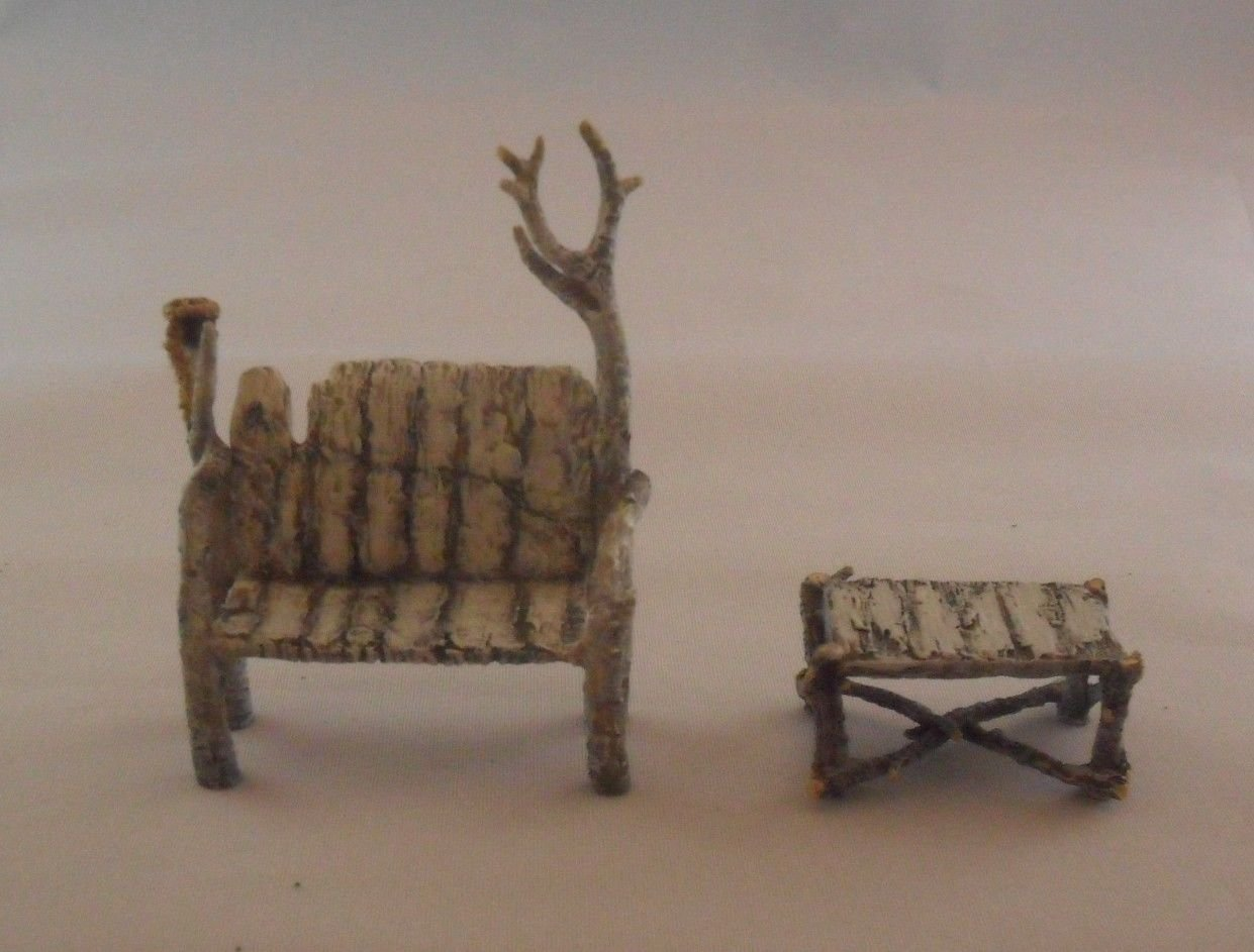 Department 56 North Pole Woods Village Accessories Birch Bench and Table Set Set of 2 Dept 56 6069355