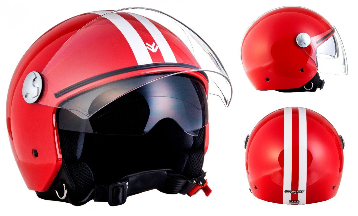 "/· Casque Moto Jet /· Demi Jet Helmet Retro Cruiser Chopper Scooter /· ECE certifi/é /· Separate Visors /· Click-n-Secure/™ Clip /· Sac fourre-tout /&m black Armor /· AV-63 /""Fun Shiny Black/"""