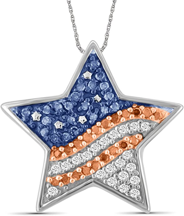 Jewelexcess 1//4 CTW Multi Color Diamond Sterling Silver American Flag Heart Pendant