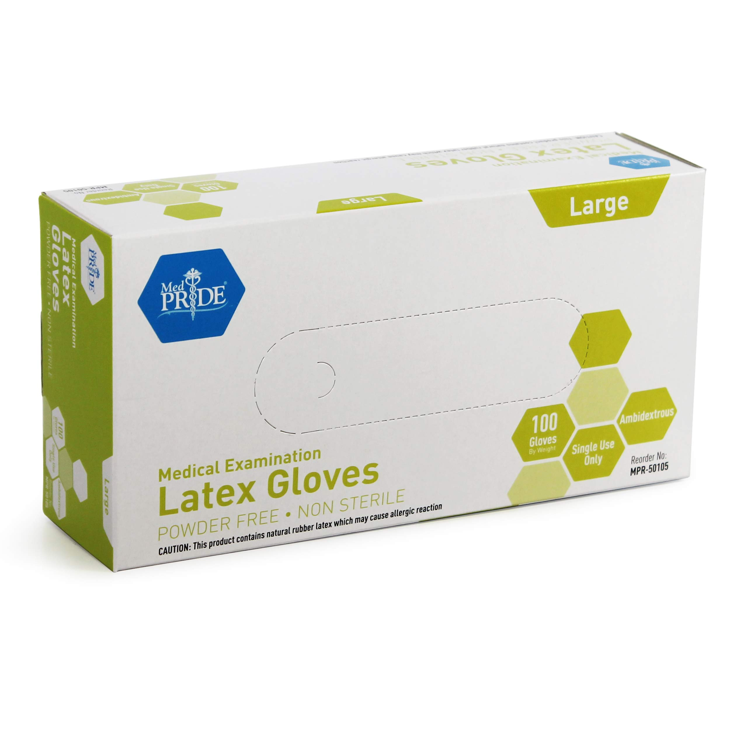 Medpride Medical Exam Latex Gloves| 5 mil Thick, Large Case of 1000| Powder-Free, Non-Sterile, Heavy Duty Exam Gloves| Professional Grade for Hospitals, Law Enforcement, Food Vendors, Tattoo Artists by MED PRIDE (Image #4)