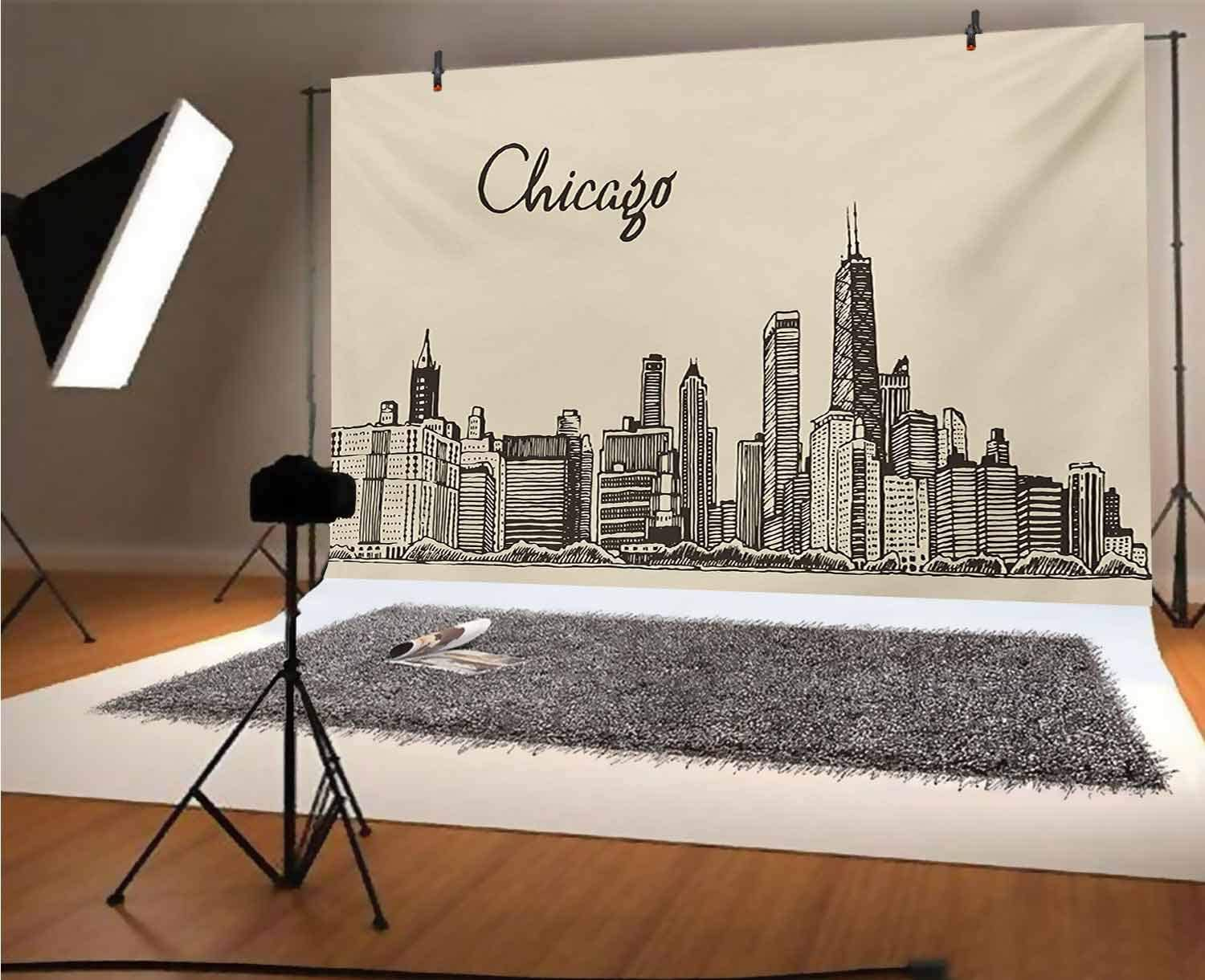 Chicago Skyline 7x5 FT Vinyl Backdrop PhotographersVintage Style Urban Silhouette Country Culture Architecture Capital Background for Party Home Decor Outdoorsy Theme Shoot Props