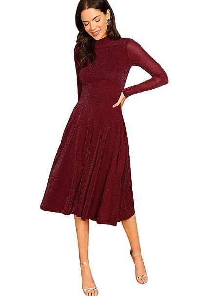 SOLY HUX Damen Midi Plissee Kleider Glanz Faltenkleid Partykleider Cocktailkleider Elegant Knielang Kleid