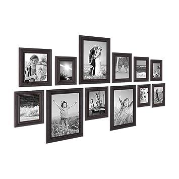 PHOTOLINI 12er Set Bilderrahmen Landhaus Stil Shabby Chic Dunkelbraun 10x15  Bis 20x30 Cm