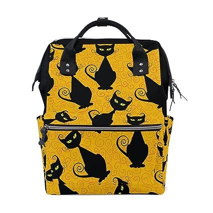 TIZORAX - Mochila para pañales de Halloween, diseño de gatos negros, gran capacidad,