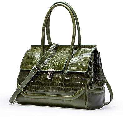 3c2d2a04f2f9a5 Contacts Frauen Echtes Leder Crossbody Top Flap Bag Messenger  Schultertasche Handtasche Grün