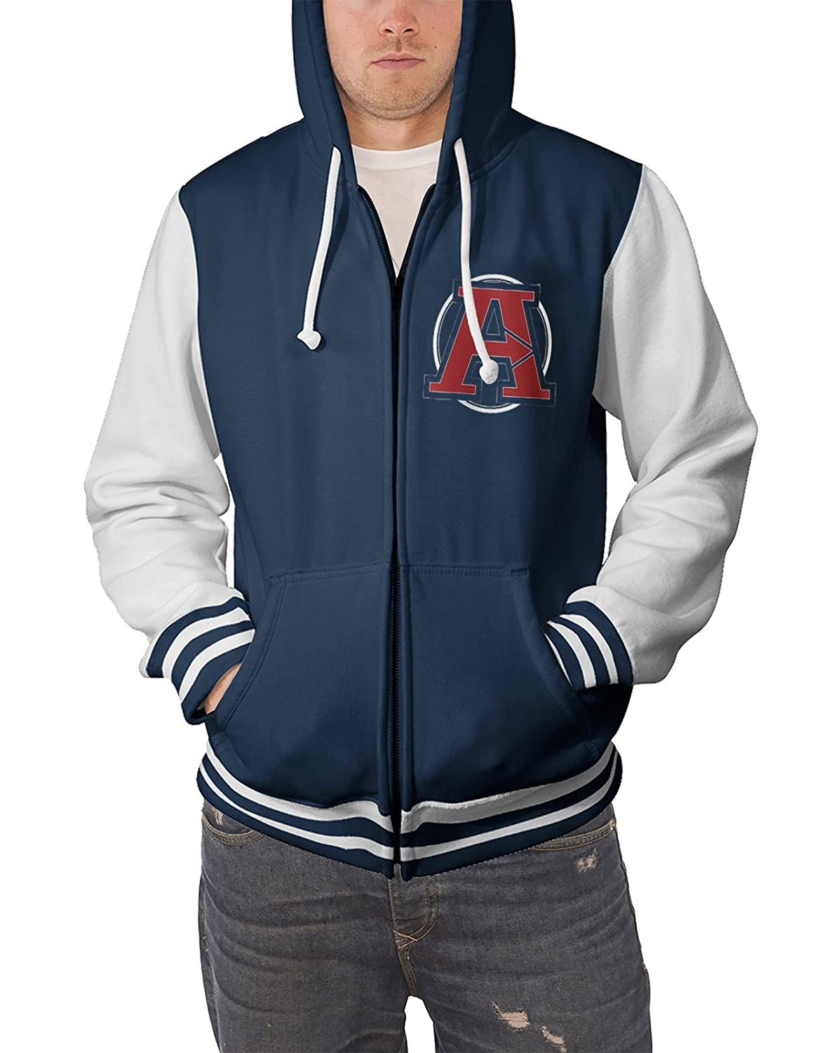 The Avengers Baseball Jacket Varsity Distressed Logo Official Mens Blue Zipped