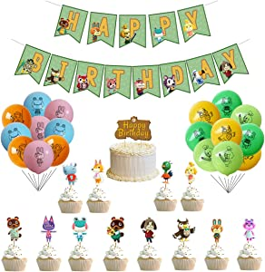 56 Pcs Animal Crossing Party Supplies set 1 Pcs Happy Birthday Banner 1pcs Happy Birthday Cake Topper 30 Pcs Balloons 24 pcs Cupcake Toppers Animal Crossing Theme Birthday Party decorations for Kids Teens