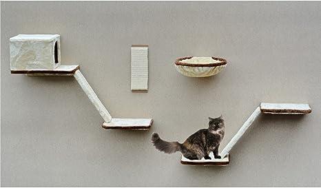 Silvio Design 21908.000 Juego de Escalada de Montaje en Pared para Gatos, 8 Piezas, Color Beige