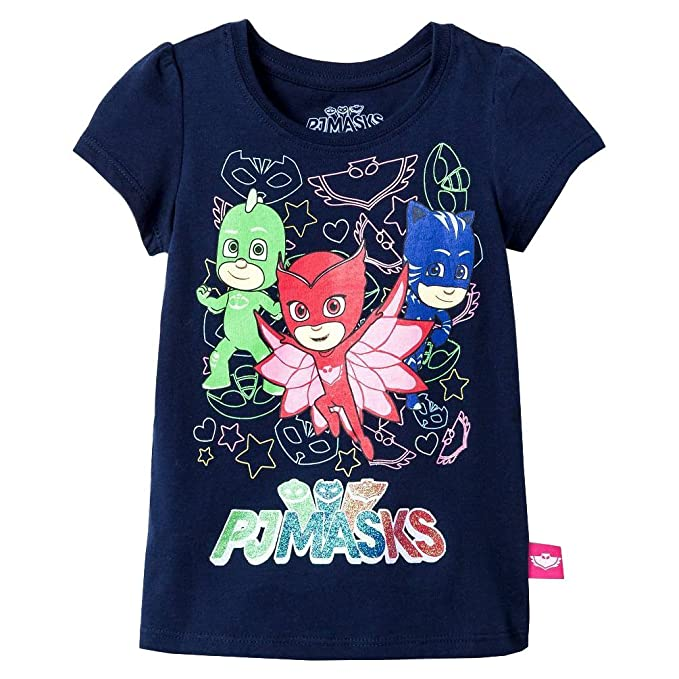 fddc5f8a Amazon.com: PJ Masks Toddler Girls Short Sleeve T-Shirt Navy Blue ...