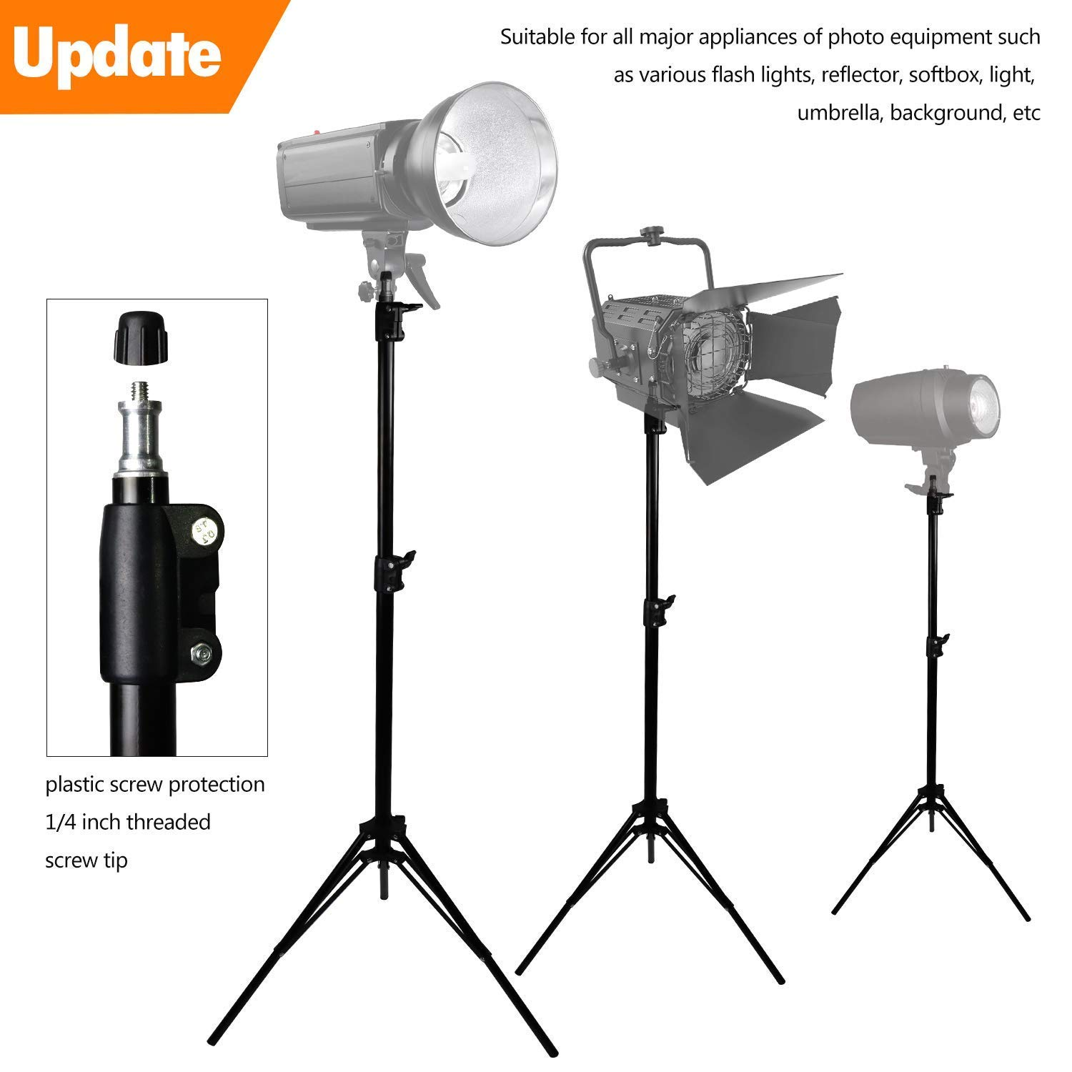 MOUNTDOG Upgraded 6.5 Ft/ 200CM / 78inch Photography Tripod Light Stand Aluminum Alloy Photographic Stand for Studio Reflector Softbox Umbrellas-6.5ftX2 ¡­ by MOUNTDOG (Image #6)