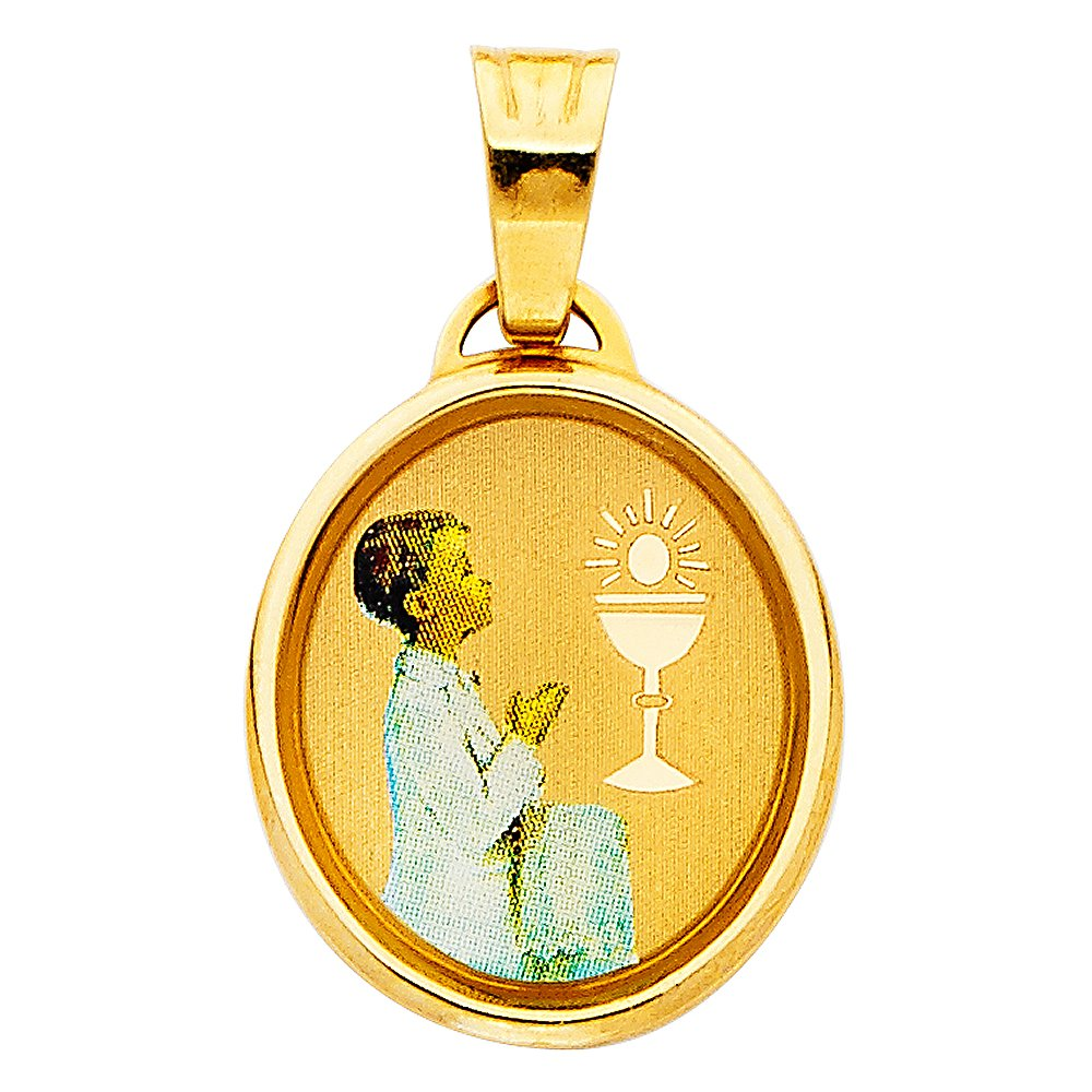 14K Yellow Gold Religious Baptism Charm Pendant For Necklace or Chain