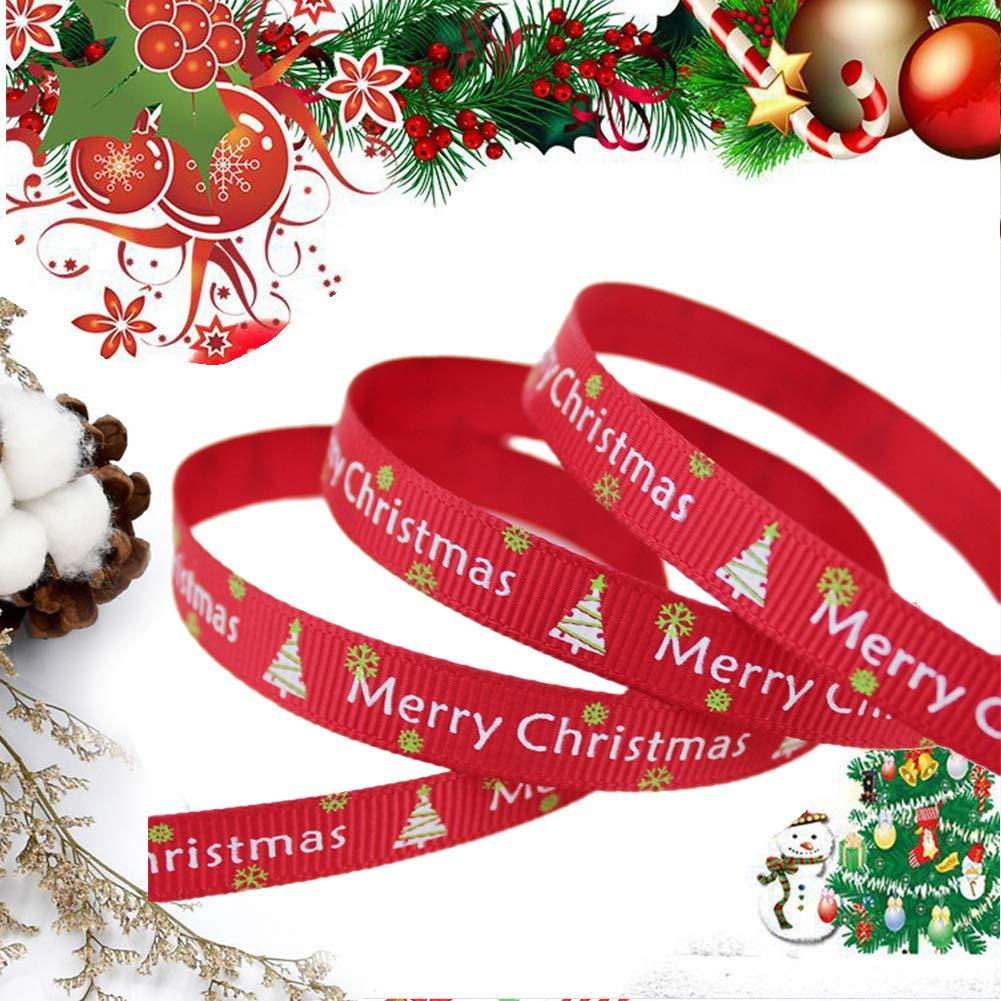 hacer lazos y otros proyectos envolver regalos de sat/én para bodas de poli/éster Paquete de 5 rollos de cinta de grogr/én de 5 m con dise/ño de Navidad de doble cara