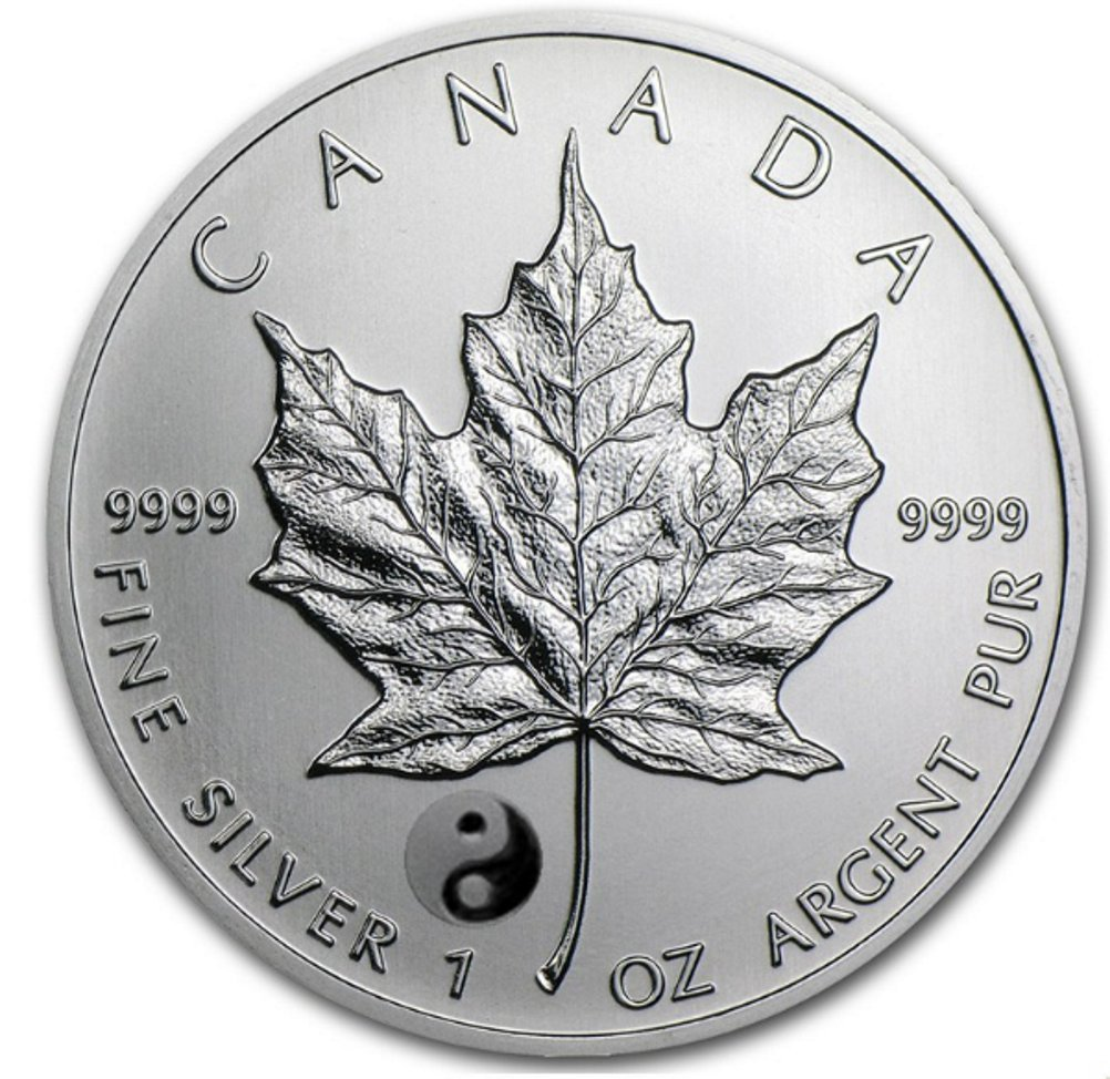 1 oz 2016 Canadian Maple Leaf Yin Yang Privy Reverse Proof Silver Coin Royal Canadian Mint
