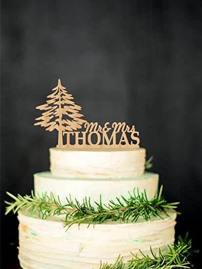 Christmas Wedding Cake Toppers.Amazon Com Wood Cake Topper Mr Mrs Topper Winter Wooden