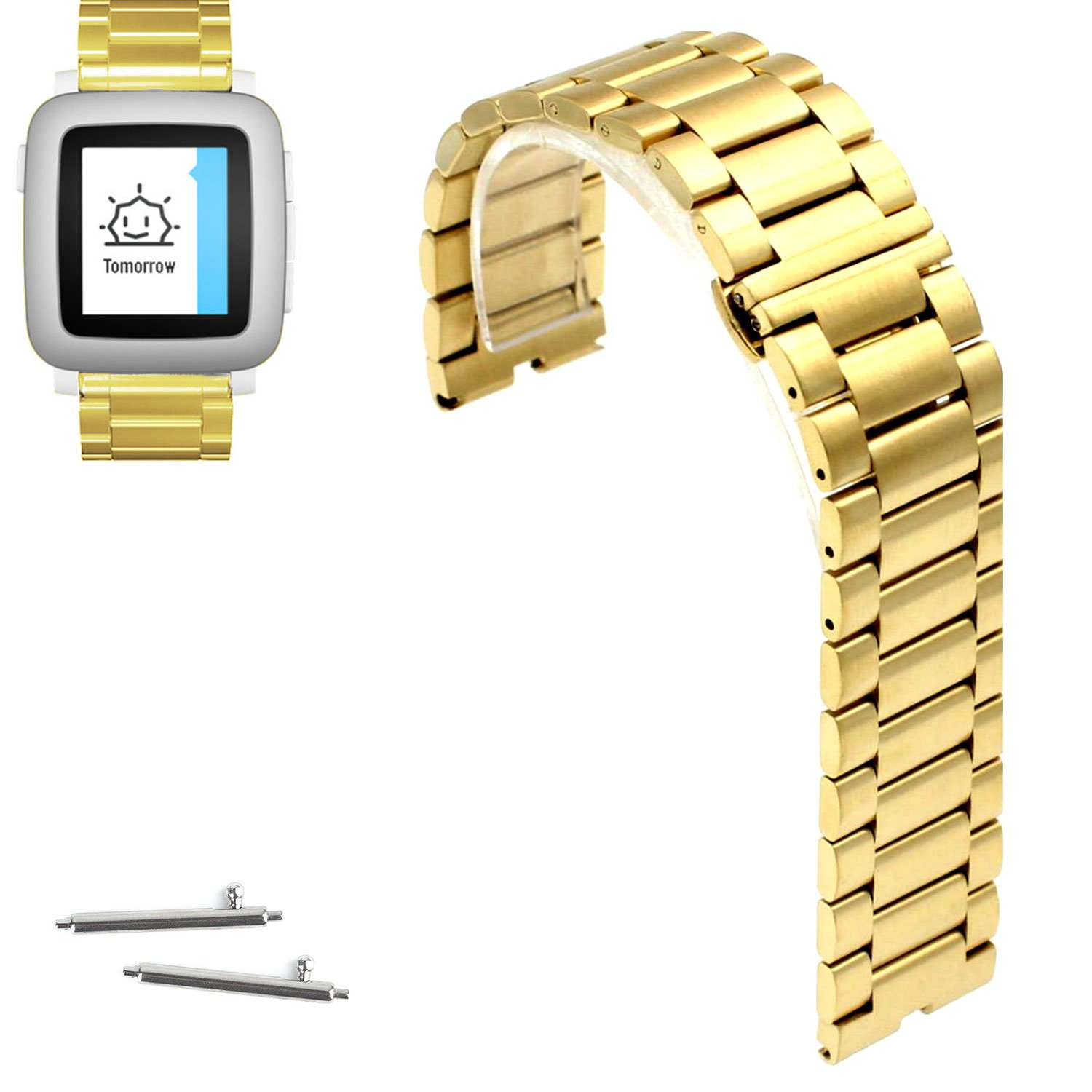 Amazon.com: 22mm Stainless Steel Butterfly Buckle Watch Band ...
