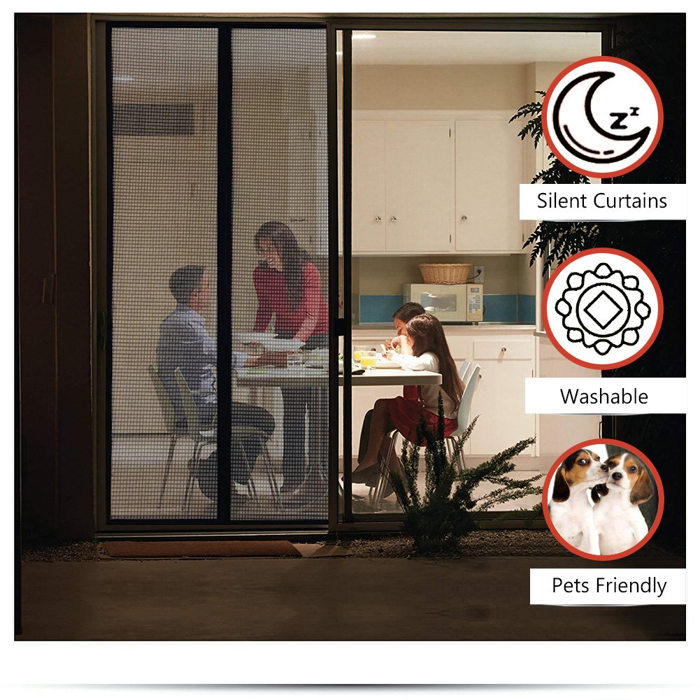 Magnet Screen Door Fiber Screen Fit Doors Size Up To Max With Full