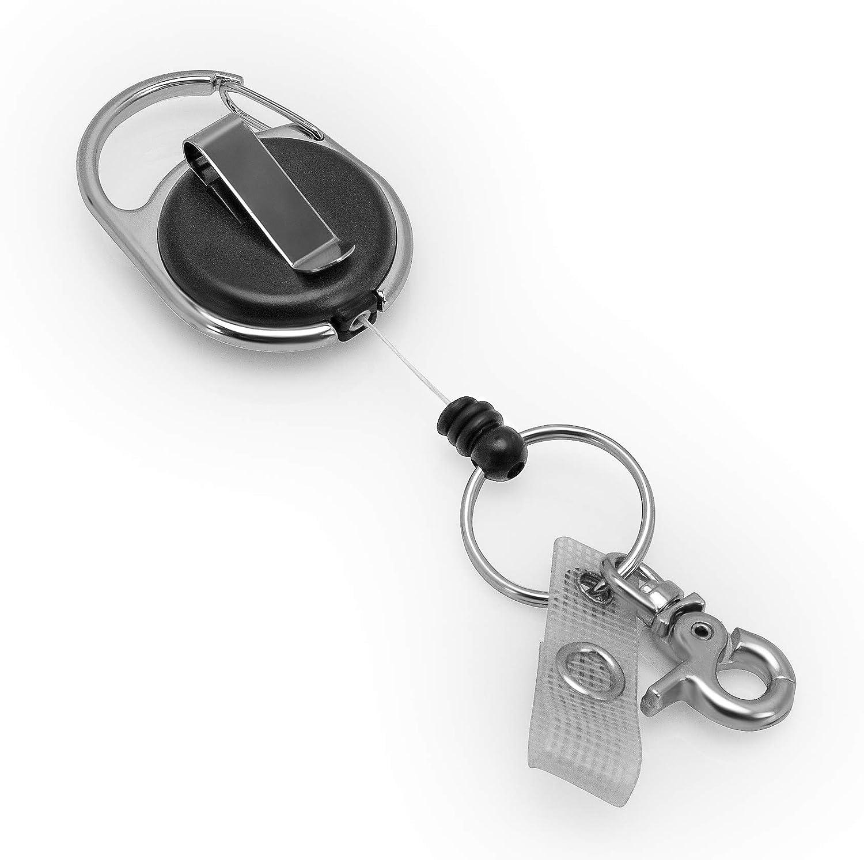 Schlüssel JoJo   Ausweis JoJo mit extra starker Feder und reißfester Schnur von BE-HOLD bietet mit Gürtelclip, Schlüsselring, Karabiner Haken und textilverstärkter Lasche vielfältige Möglichkeiten zur Befestigung Schlüsselring Karteo AZ-JJ01