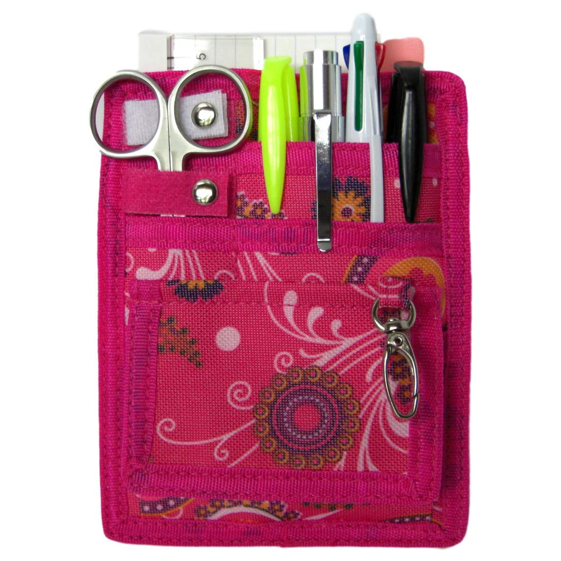 6 Piece Protective Lab Coat Pocket Organizer Kit Has Pretty Pink Paisley Pattern You're Sure to Love! Attractive Yet Durable-Made of Super Strong 600d Denier-Perfect Gift for Nurses, Students & You!