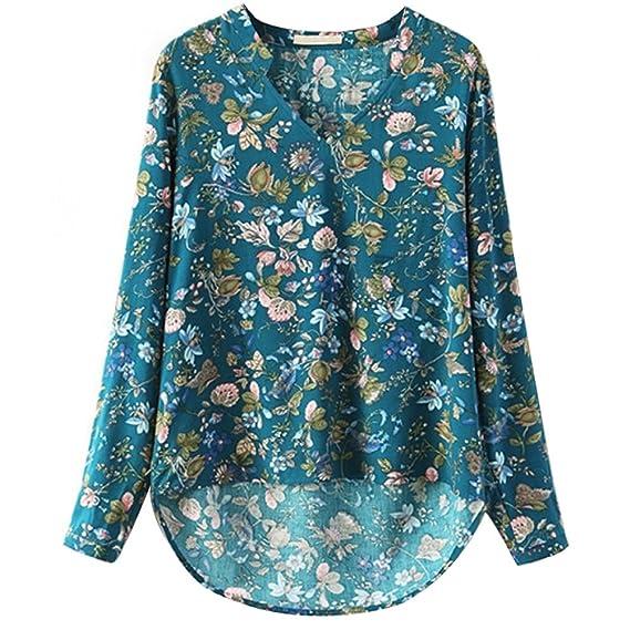 SODIAL Blusas de Las Mujeres Estampada de Floral de La vendimia de Moda de Otono con