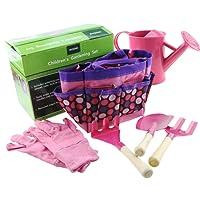 Children's Garden Tool Set with Tote Hand Rake Shovel Fork Watering Can Gloves Kids Garden Toys