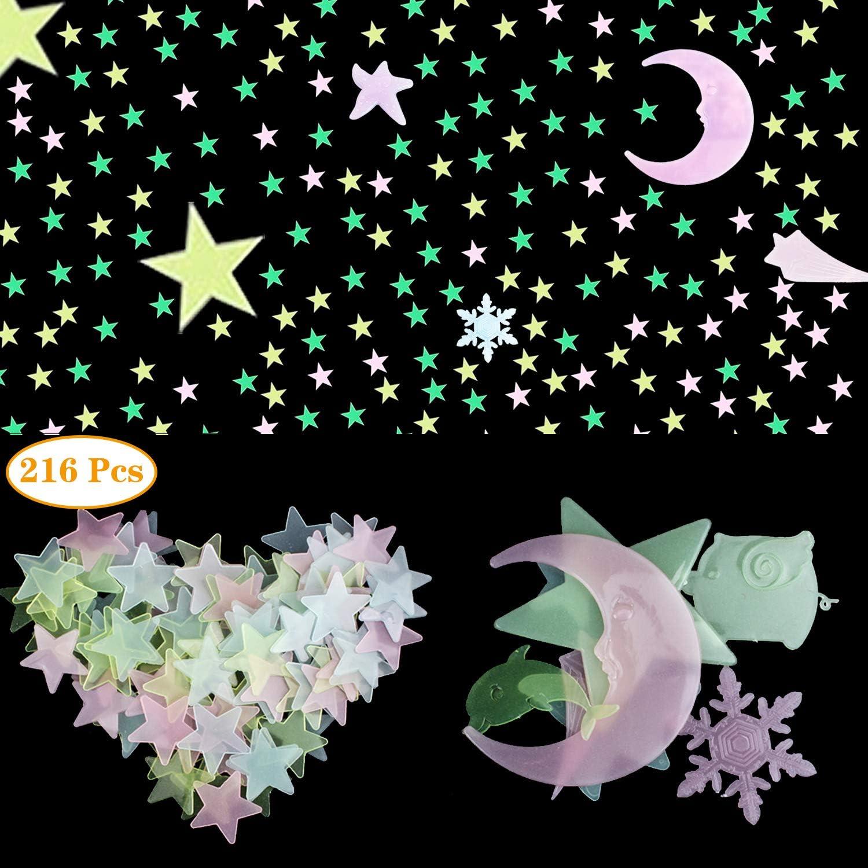 Azul de Cielo 749 Pegatinas de Pared con Estrellas de Brillar en Oscuridad y Puntos Pegatinas de Estrellas Brillantes Pegatinas de Techo