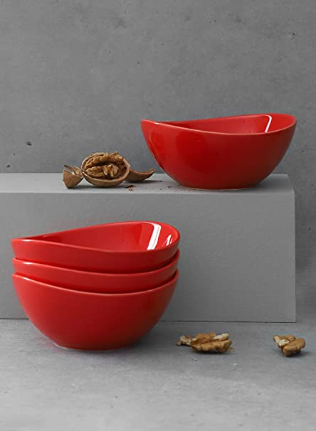 Sweese 101 404 Porcelain Bowls 10 Ounce For Ice Cream Dessert Small Side Dishes Set Of 4 Red Dessert Bowls