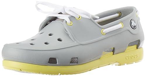 349763bc14c5 crocs Kids Unisex Beach Line Boat lace GS Light Grey Boat Shoes - J6 ...