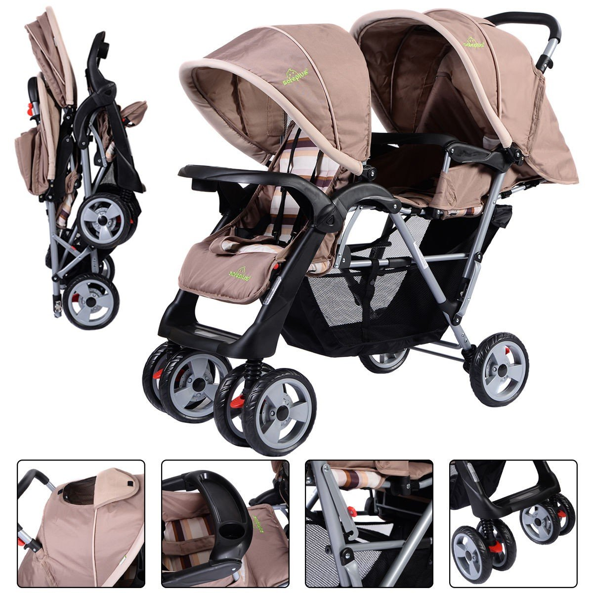 Foldable Twin Baby Double Stroller Kids Jogger Travel Infant Pushchair Gray Apontus