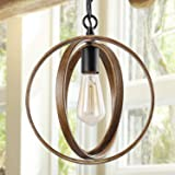 """ISURAUL Globe Pendant Farmhouse Orb Chandelier for Dining Rooms Hanging Light Fixture for Kitchen Island, 11"""", Faux-Wood…"""