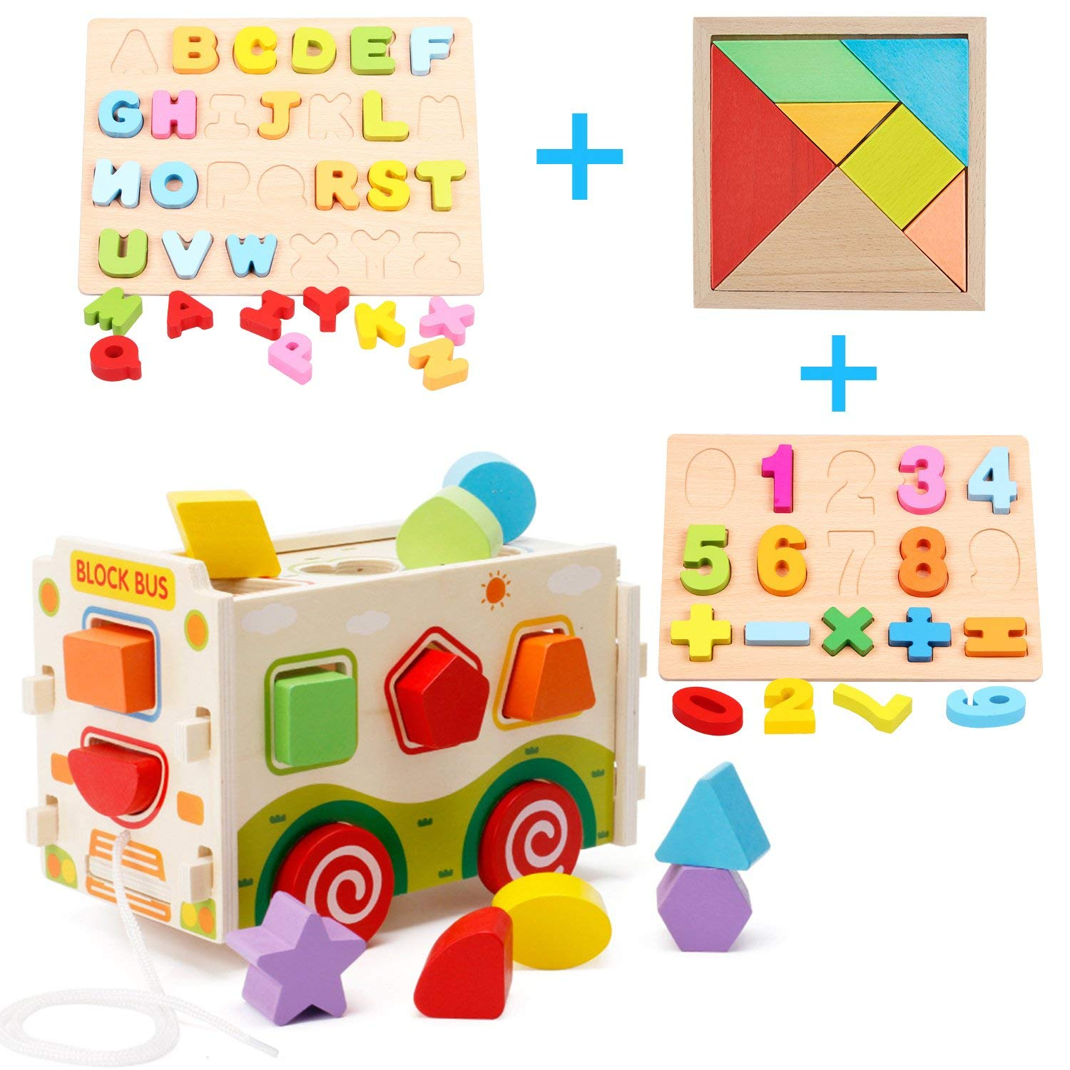 Wooden Shape Sorter Toys,Wooden Shape Sorter Bus with Tangram & Number Puzzle Board & Alphabet Puzzle Board, Classic 3D Push Pull Truck Toy for Toddlers Learning Sort and Match for 1 2 Year Old
