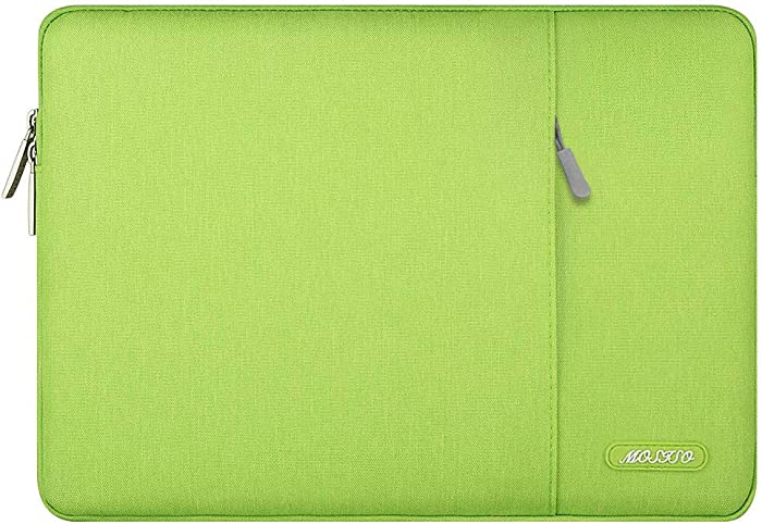 MOSISO Laptop Sleeve Bag Compatible with 13-13.3 inch MacBook Pro, MacBook Air, Notebook Computer, Water Repellent Polyester Vertical Protective Case Cover with Pocket, Greenery