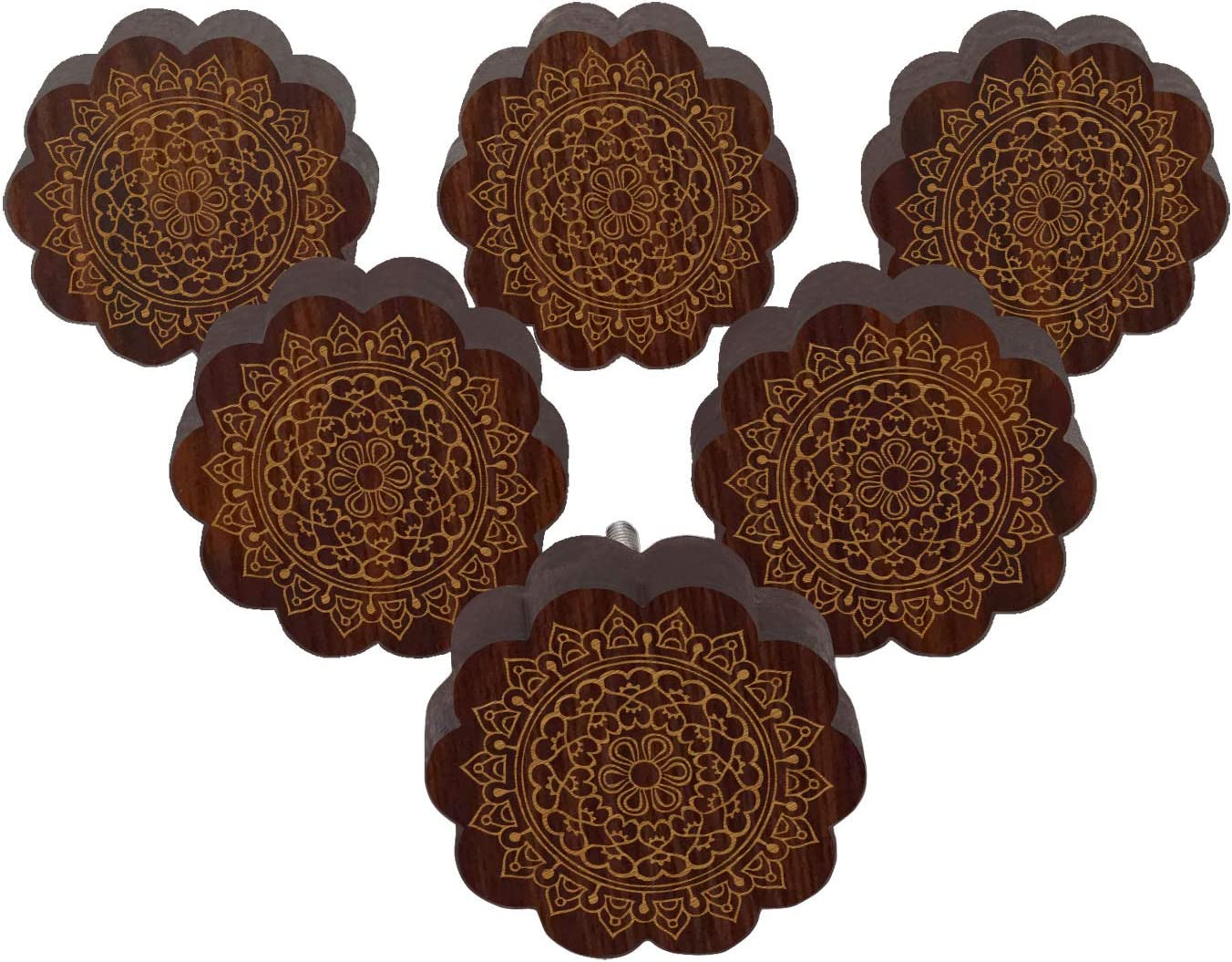 IBA Indianbeautifulart Braun graviert Kn/öpfe 10 Stk M/öbel Holz Jakobsmuschel Kn/öpfe rustikale Schublade ziehen