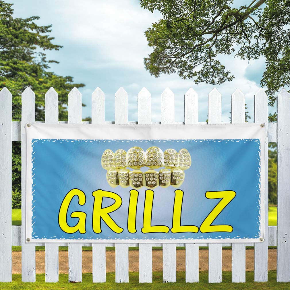 Vinyl Banner Sign Grillz Business Grillz Outdoor Marketing Advertising Blue Multiple Sizes Available Set of 3 4 Grommets 24inx60in