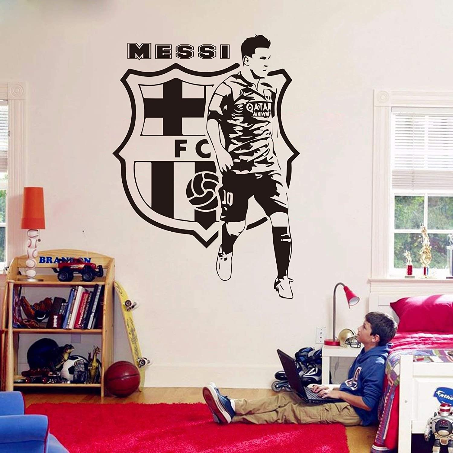 Andre Shop Lionel Messi Wall Decals - Barcelona Football Player Decals - Soccer Football Player Wall Sticker Vinyl Art - Boy Room Decor Custom Color