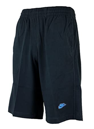 Nike Mens Shorts Jersey Long 3D Logo Cotton Shorts Knee Length Black/Grey/ Blue