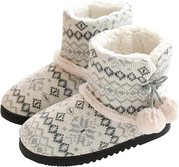 tqgold® Zapatillas de Estar por Casa Mujer Bota Pantuflas Cerradas Invierno Interior Antideslizante Suaves Peluche Bootie