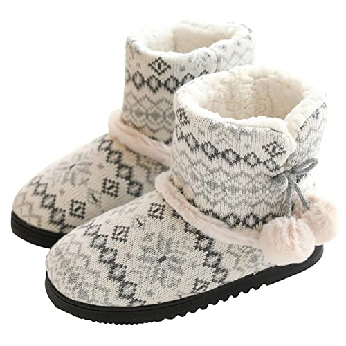 AONETIGER Zapatillas de Estar por Casa Mujer Bota Pantuflas Cerradas Invierno Interior Antideslizante Suaves Peluche Bootie: Amazon.es: Zapatos y ...