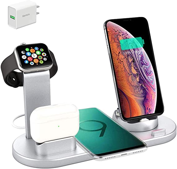Amazon Com Kertxin Wireless Charger Stand 4 In 1 Wireless Charging Station Dock With Usb For Apple Watch Iwatch 5 4 3 2 1 Airpods Iphone 11 11 Pro X Xs Xr Max 8 Plus 8 Samsung Galaxy S9 S8