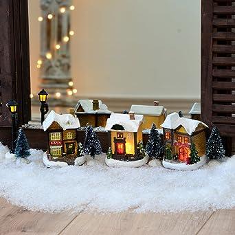 Led Weihnachtsbeleuchtung Innen Weihnachts Dorf 10tlg Handbemalt