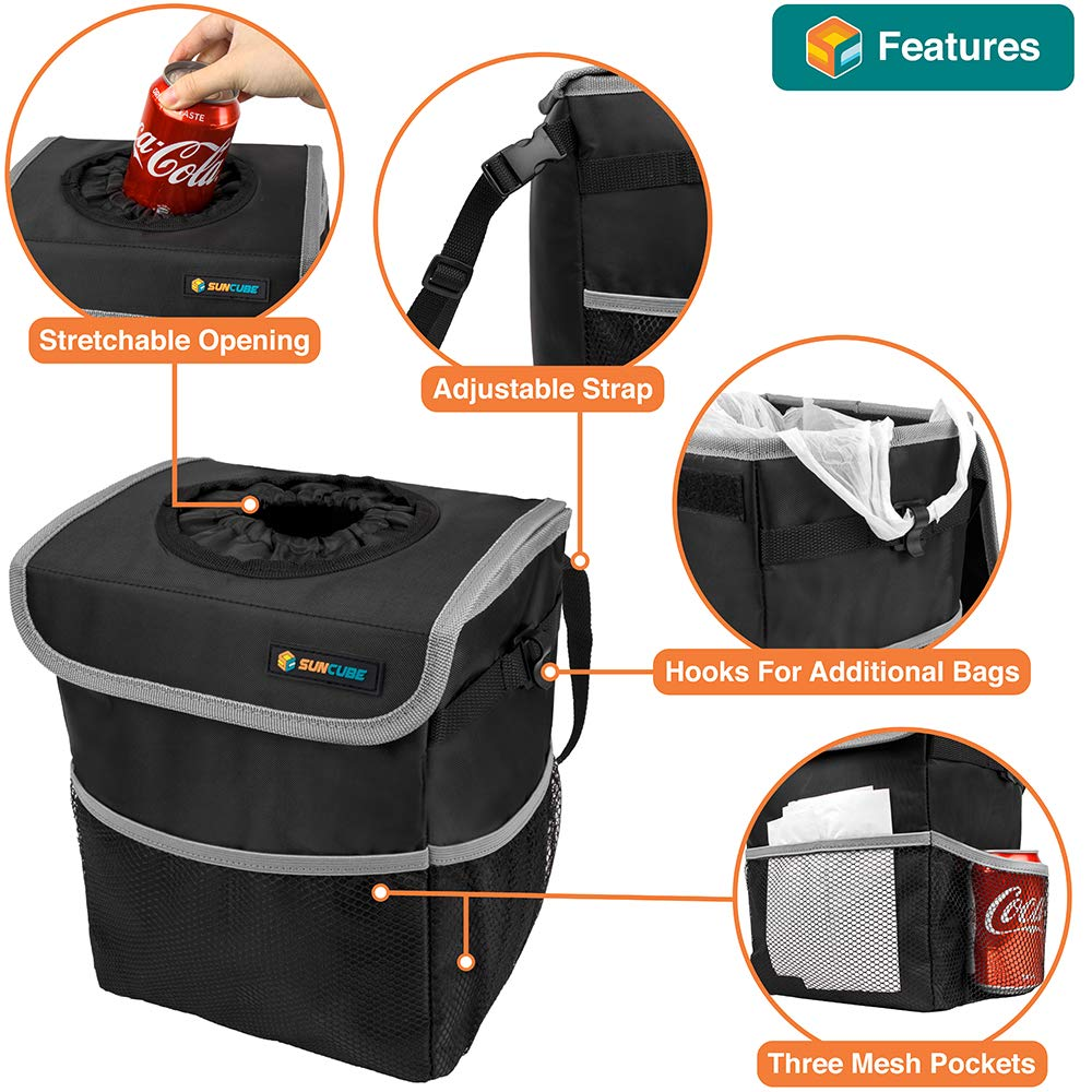 Black//Grey Trim SUN CUBE Car Trash Can with Lid and Removable Leakproof Lining Waterproof Hanging Trash Bin with Storage Pockets for Console Portable Car Organizer Garbage Can Back Seat