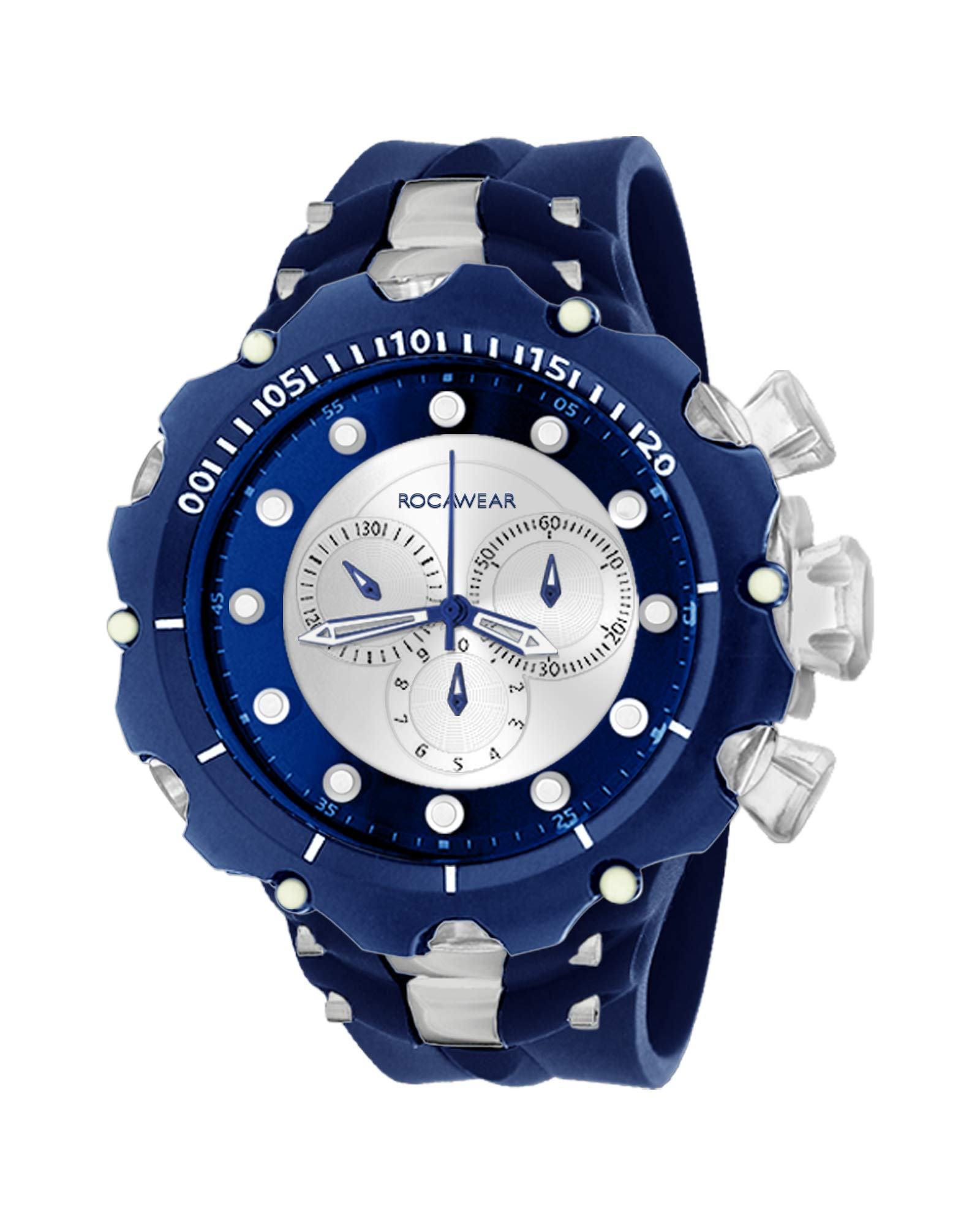 Rocawear Mens Quartz Two-Tone Analog Watch with Oversized Dial (Navy) by Rocawear