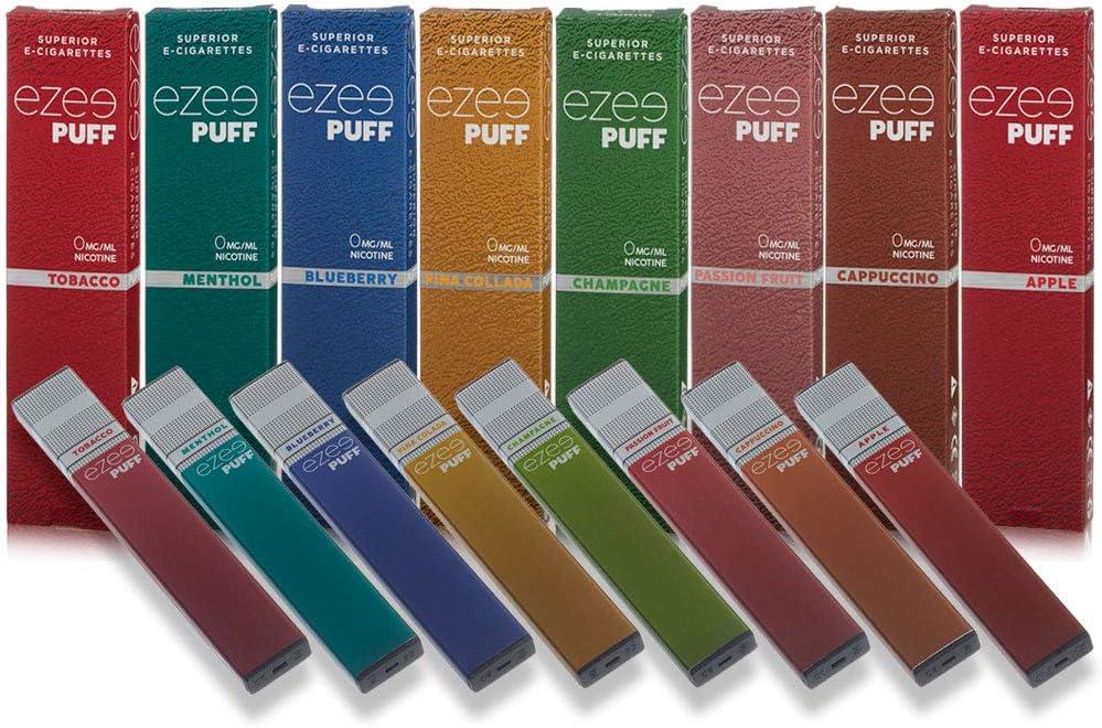 Ezee Puff Cigarrillo Electrónico Desechable 8 sabores diferentes e-liquido Sin Nicotina y sin Tabaco E-Cigarrillo para vapear 280 mAh Batería