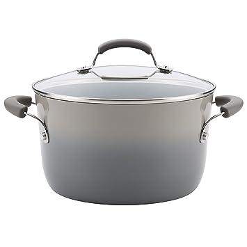Rachael Ray 17658 6 cuartos de galón Olla de aluminio cubierta, 6 cuartos de galón, aluminio, Sea Salt Gray Gradient, 6 Quart: Amazon.es: Hogar