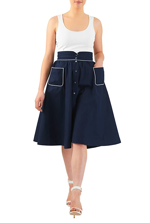 Retro Skirts: Vintage, Pencil, Circle, & Plus Sizes eShakti Womens Button front cotton poplin full skirt $40.95 AT vintagedancer.com